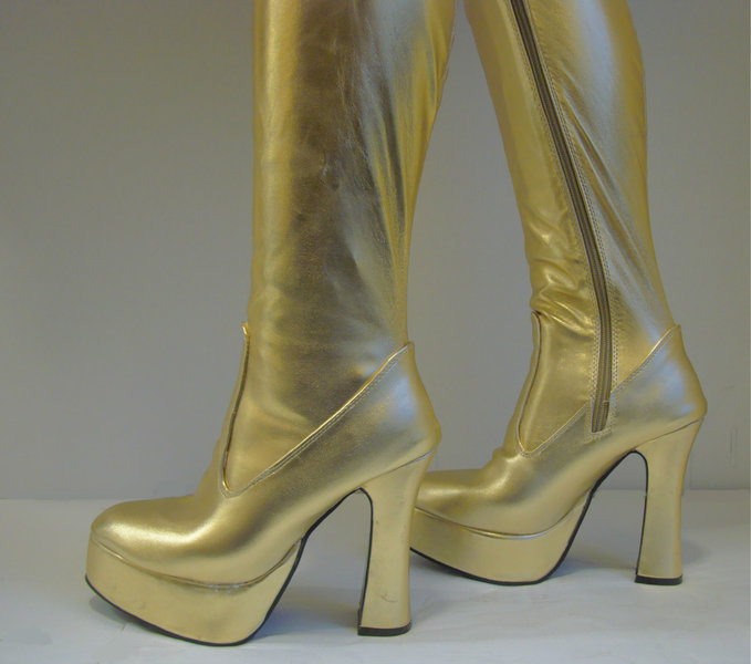platform boots gold size 11