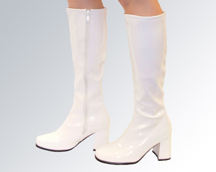knee high boots white patent size 4