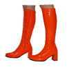 Knee High Boots - Orange Patent - Size 7