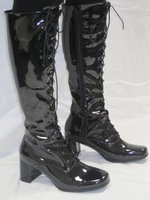 Eyelet Knee High - Black Patent