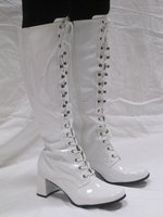 Eyelet Knee High - White Patent